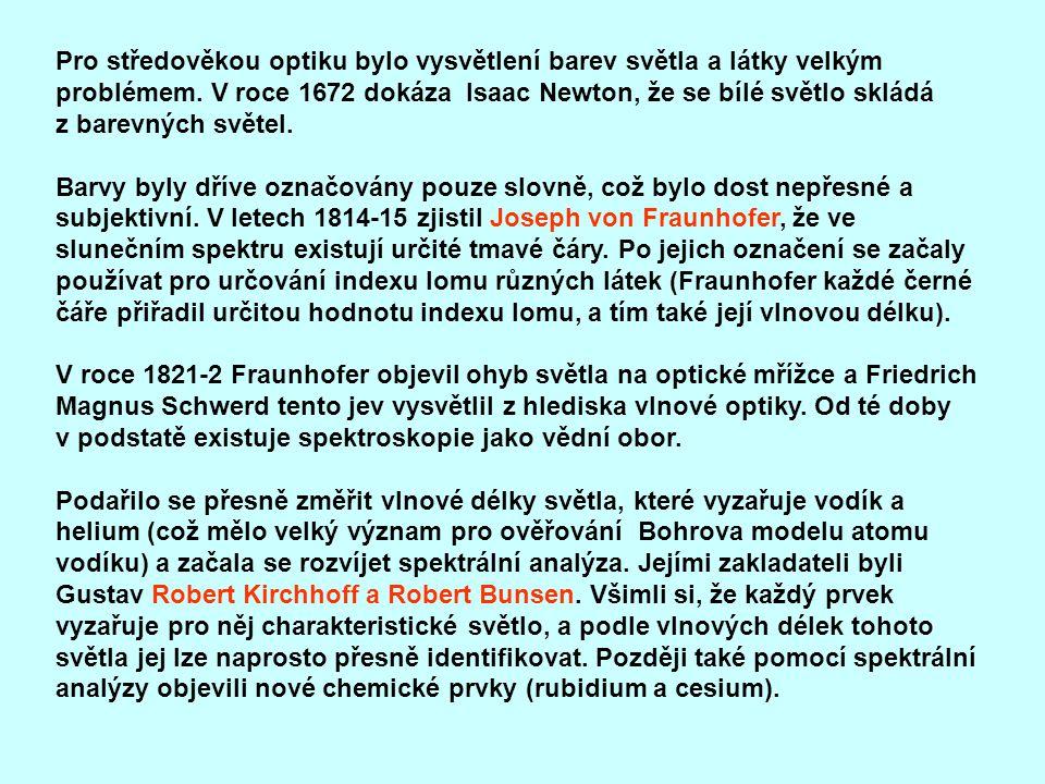 Pro středověkou optiku bylo vysvětlení barev světla a látky velkým problémem. V roce 1672 dokáza lsaac Newton, že se bílé světlo skládá z barevných sv