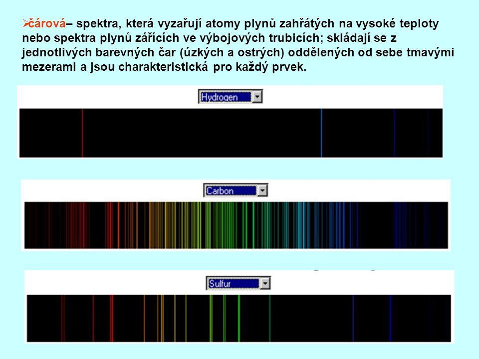  čárová– spektra, která vyzařují atomy plynů zahřátých na vysoké teploty nebo spektra plynů zářících ve výbojových trubicích; skládají se z jednotlivých barevných čar (úzkých a ostrých) oddělených od sebe tmavými mezerami a jsou charakteristická pro každý prvek.