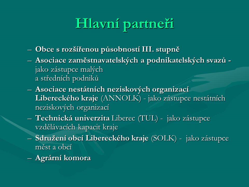Hlavní partneři –Obce s rozšířenou působností III.