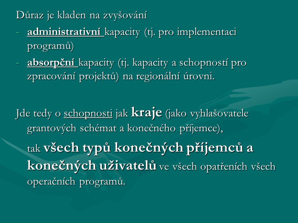 Důraz je kladen na zvyšování -administrativní kapacity (tj.