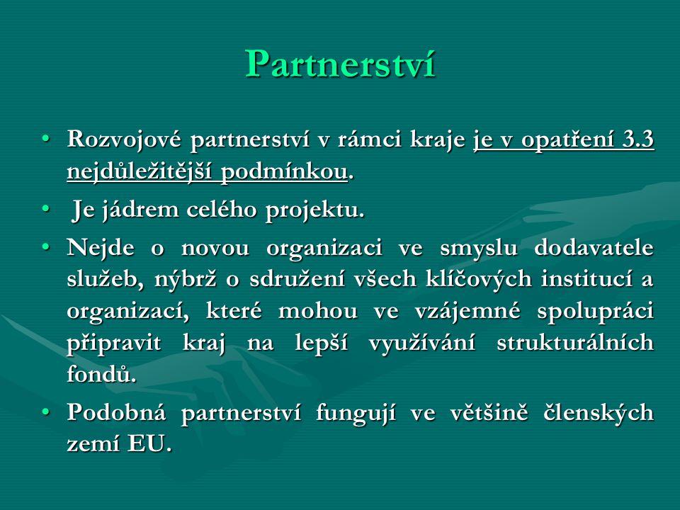 Partnerství Rozvojové partnerství v rámci kraje je v opatření 3.3 nejdůležitější podmínkou.Rozvojové partnerství v rámci kraje je v opatření 3.3 nejdůležitější podmínkou.