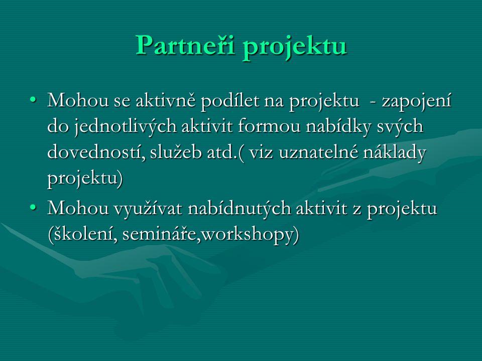 Partneři projektu Mohou se aktivně podílet na projektu - zapojení do jednotlivých aktivit formou nabídky svých dovedností, služeb atd.( viz uznatelné náklady projektu)Mohou se aktivně podílet na projektu - zapojení do jednotlivých aktivit formou nabídky svých dovedností, služeb atd.( viz uznatelné náklady projektu) Mohou využívat nabídnutých aktivit z projektu (školení, semináře,workshopy)Mohou využívat nabídnutých aktivit z projektu (školení, semináře,workshopy)