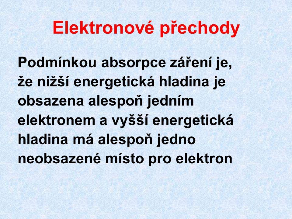 Elektronové přechody Podmínkou absorpce záření je, že nižší energetická hladina je obsazena alespoň jedním elektronem a vyšší energetická hladina má alespoň jedno neobsazené místo pro elektron