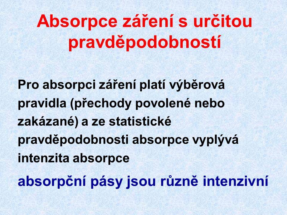 Absorpce záření s určitou pravděpodobností Pro absorpci záření platí výběrová pravidla (přechody povolené nebo zakázané) a ze statistické pravděpodobnosti absorpce vyplývá intenzita absorpce absorpční pásy jsou různě intenzivní