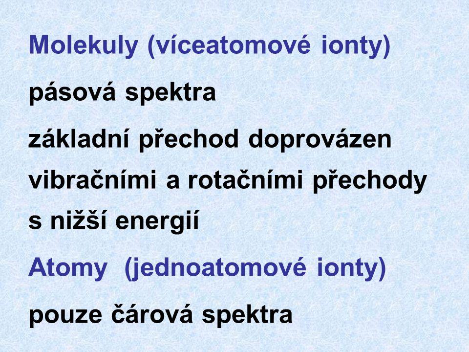 Molekuly (víceatomové ionty) pásová spektra základní přechod doprovázen vibračními a rotačními přechody s nižší energií Atomy (jednoatomové ionty) pouze čárová spektra