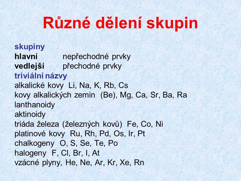 Různé dělení skupin skupiny hlavní nepřechodné prvky vedlejší přechodné prvky triviální názvy alkalické kovy Li, Na, K, Rb, Cs kovy alkalických zemin (Be), Mg, Ca, Sr, Ba, Ra lanthanoidy aktinoidy triáda železa (železných kovů) Fe, Co, Ni platinové kovy Ru, Rh, Pd, Os, Ir, Pt chalkogeny O, S, Se, Te, Po halogeny F, Cl, Br, I, At vzácné plyny, He, Ne, Ar, Kr, Xe, Rn