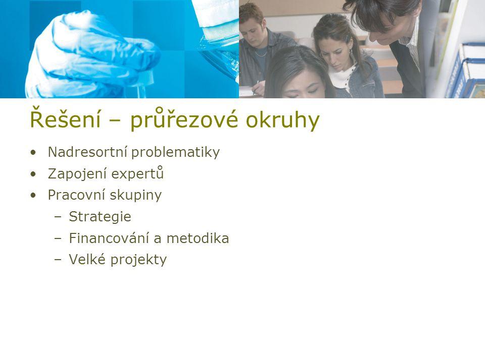 Řešení – průřezové okruhy Nadresortní problematiky Zapojení expertů Pracovní skupiny –Strategie –Financování a metodika –Velké projekty