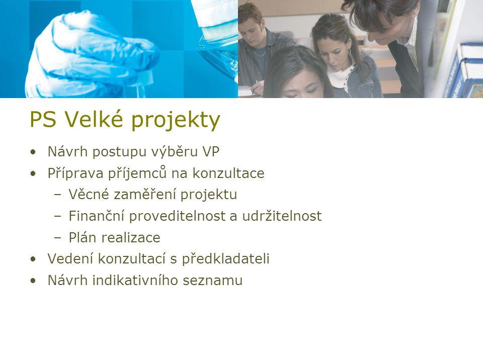PS Velké projekty Návrh postupu výběru VP Příprava příjemců na konzultace –Věcné zaměření projektu –Finanční proveditelnost a udržitelnost –Plán realizace Vedení konzultací s předkladateli Návrh indikativního seznamu