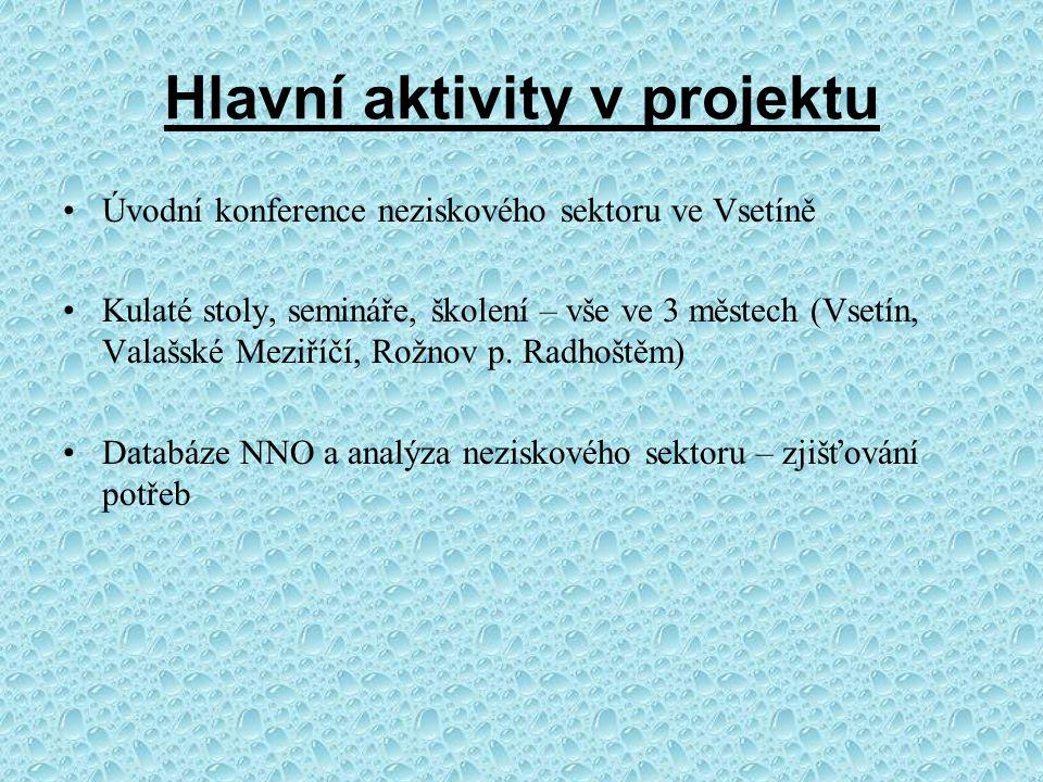 Hlavní aktivity v projektu Úvodní konference neziskového sektoru ve Vsetíně Kulaté stoly, semináře, školení – vše ve 3 městech (Vsetín, Valašské Meziříčí, Rožnov p.