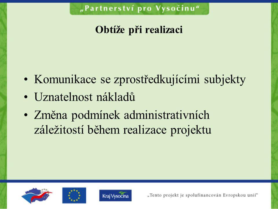 Obtíže při realizaci Komunikace se zprostředkujícími subjekty Uznatelnost nákladů Změna podmínek administrativních záležitostí během realizace projektu