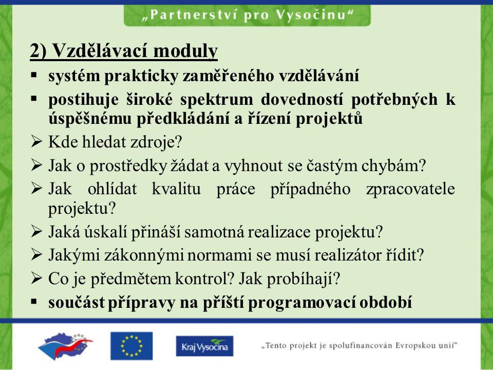 4) Tvorba místních partnerství a rozvojových dokumentů Vytvoření 15 místních partnerství podle ORP III.stupně v kraji Vysočina Vytvoření MOP a ROP (Regionálního operačního plánu), ROP podklad pro vyjednávání ROP NUTS II Jihovýchod