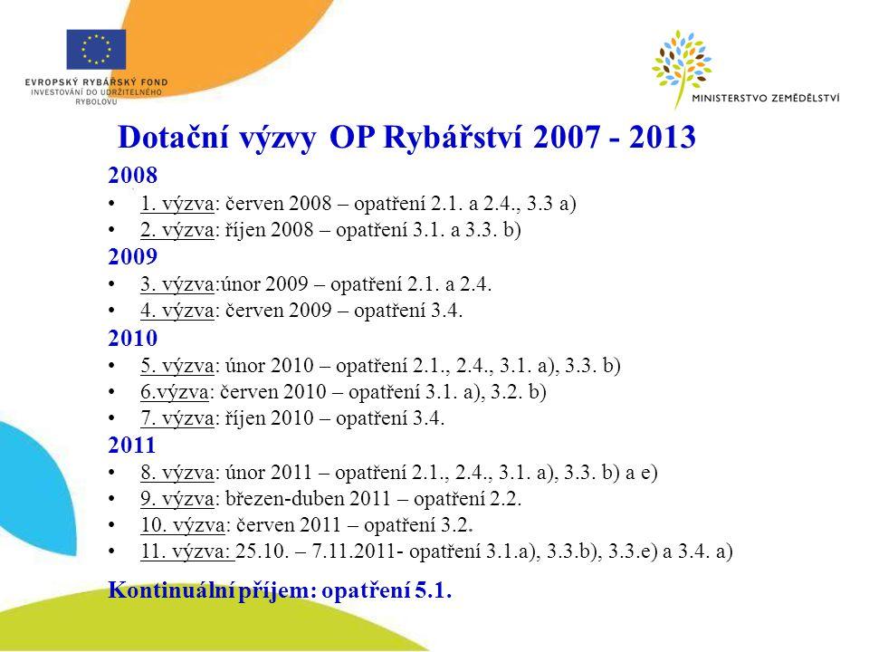 Dotační výzvy OP Rybářství 2007 - 2013 2008 1. výzva: červen 2008 – opatření 2.1.