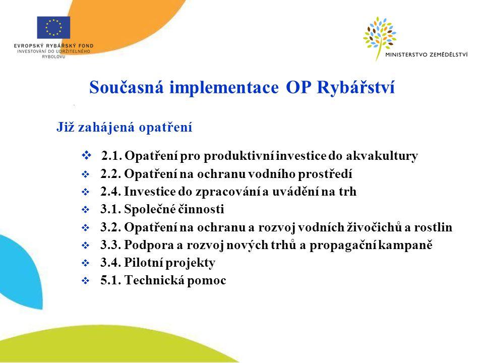 Současná implementace OP Rybářství Již zahájená opatření  2.1.