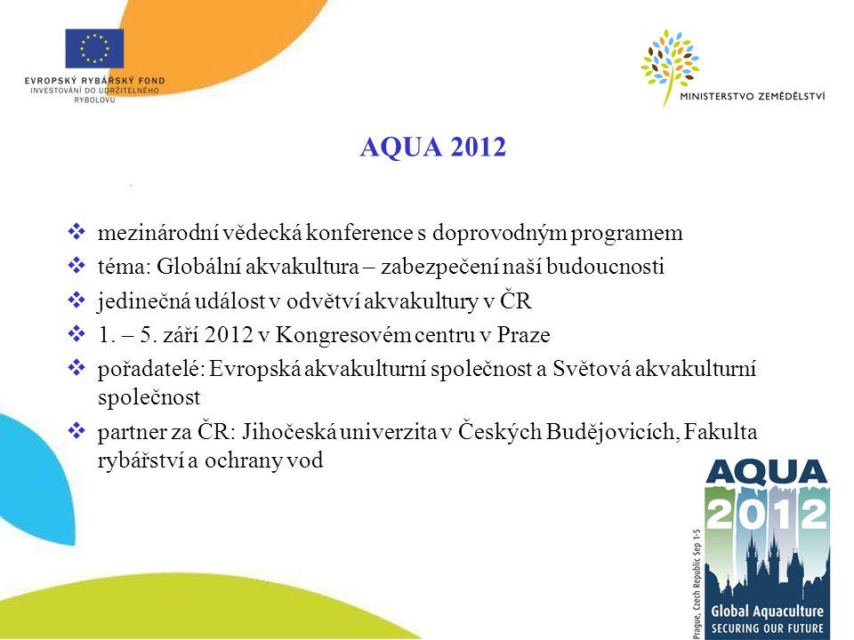 AQUA 2012  mezinárodní vědecká konference s doprovodným programem  téma: Globální akvakultura – zabezpečení naší budoucnosti  jedinečná událost v odvětví akvakultury v ČR  1.