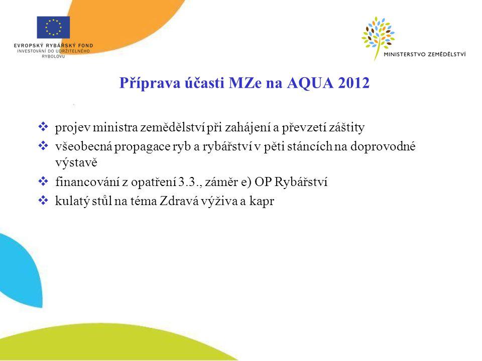 Příprava účasti MZe na AQUA 2012  projev ministra zemědělství při zahájení a převzetí záštity  všeobecná propagace ryb a rybářství v pěti stáncích na doprovodné výstavě  financování z opatření 3.3., záměr e) OP Rybářství  kulatý stůl na téma Zdravá výživa a kapr
