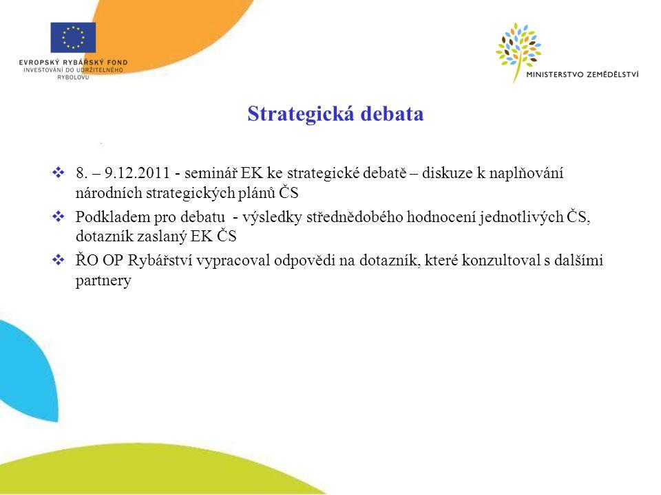  8. – 9.12.2011 - seminář EK ke strategické debatě – diskuze k naplňování národních strategických plánů ČS  Podkladem pro debatu - výsledky středněd