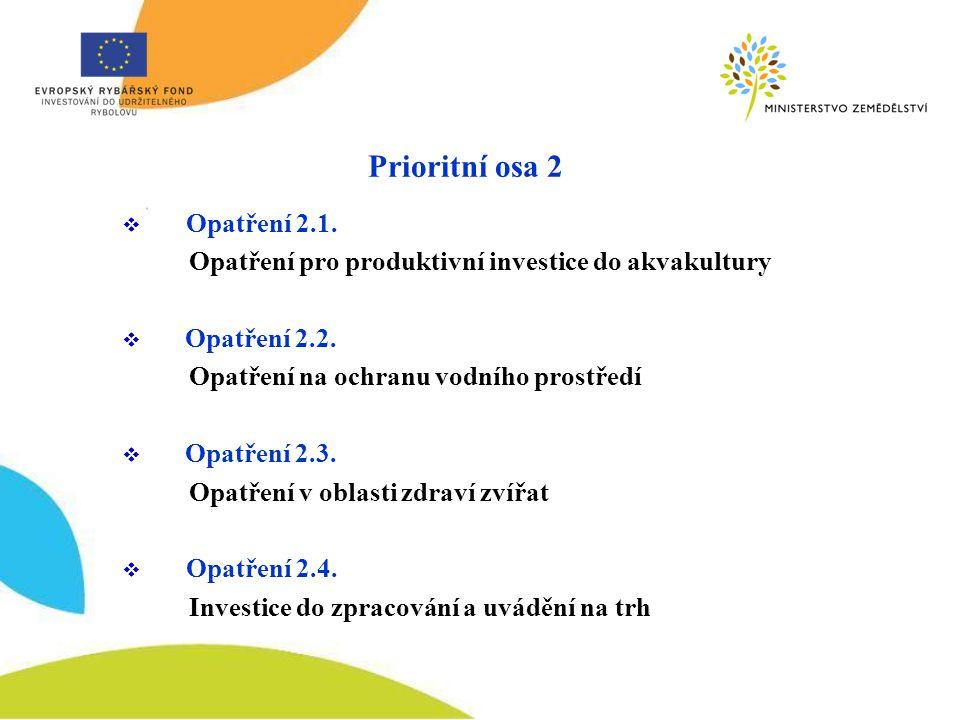  Opatření 2.1. Opatření pro produktivní investice do akvakultury  Opatření 2.2.