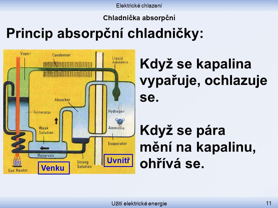 Elektrické chlazení Užití elektrické energie 11 Když se kapalina vypařuje, ochlazuje se. Když se pára mění na kapalinu, ohřívá se. Uvnitř Venku Princi