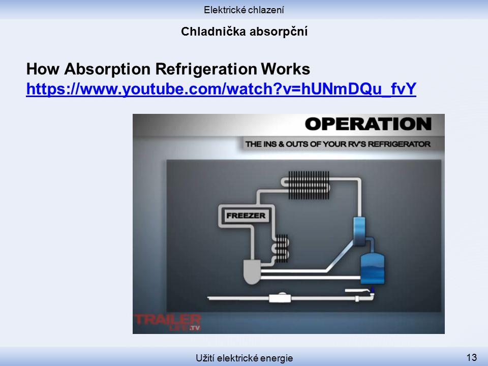 Elektrické chlazení Užití elektrické energie 13 How Absorption Refrigeration Works https://www.youtube.com/watch?v=hUNmDQu_fvY
