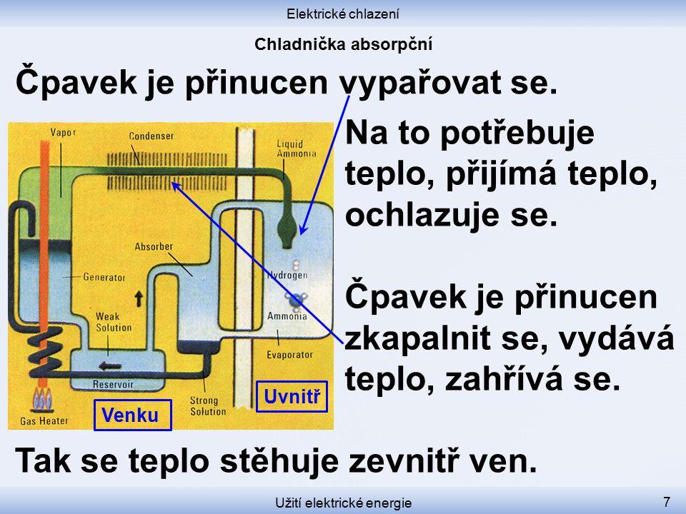 Elektrické chlazení Užití elektrické energie 7 Na to potřebuje teplo, přijímá teplo, ochlazuje se.