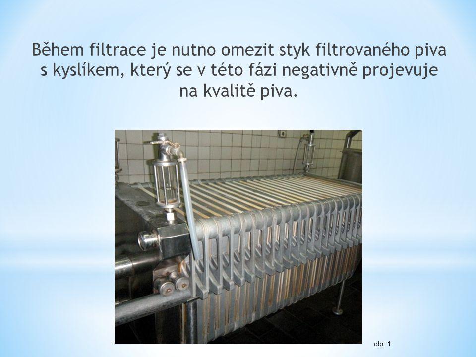 Během filtrace je nutno omezit styk filtrovaného piva s kyslíkem, který se v této fázi negativně projevuje na kvalitě piva. obr. 1