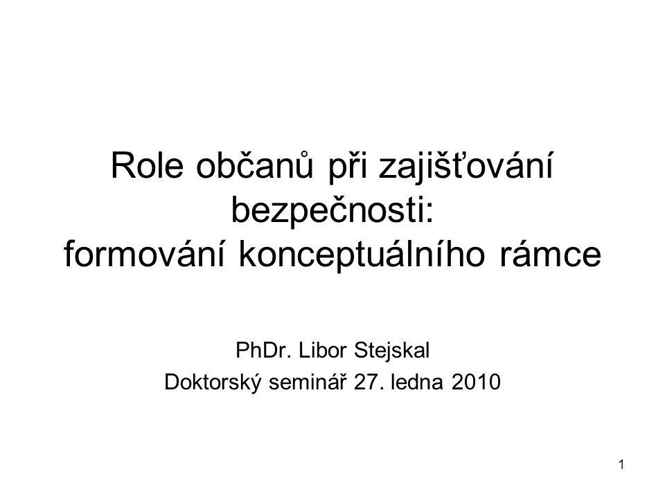 1 Role občanů při zajišťování bezpečnosti: formování konceptuálního rámce PhDr.