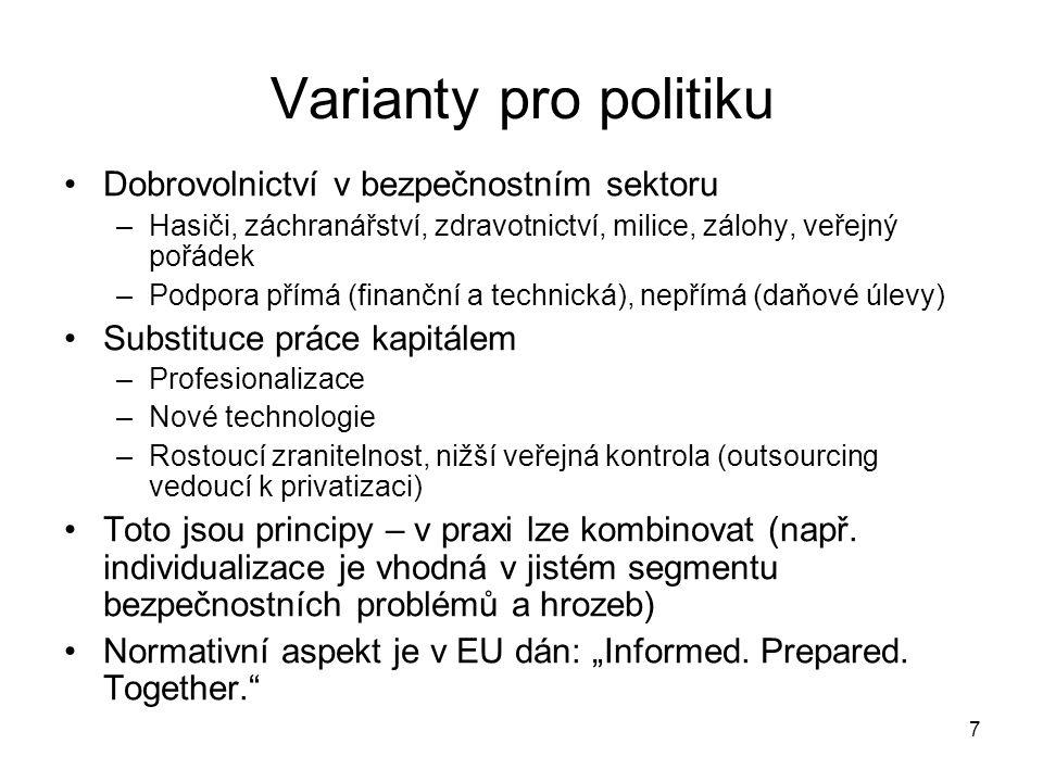 7 Varianty pro politiku Dobrovolnictví v bezpečnostním sektoru –Hasiči, záchranářství, zdravotnictví, milice, zálohy, veřejný pořádek –Podpora přímá (finanční a technická), nepřímá (daňové úlevy) Substituce práce kapitálem –Profesionalizace –Nové technologie –Rostoucí zranitelnost, nižší veřejná kontrola (outsourcing vedoucí k privatizaci) Toto jsou principy – v praxi lze kombinovat (např.
