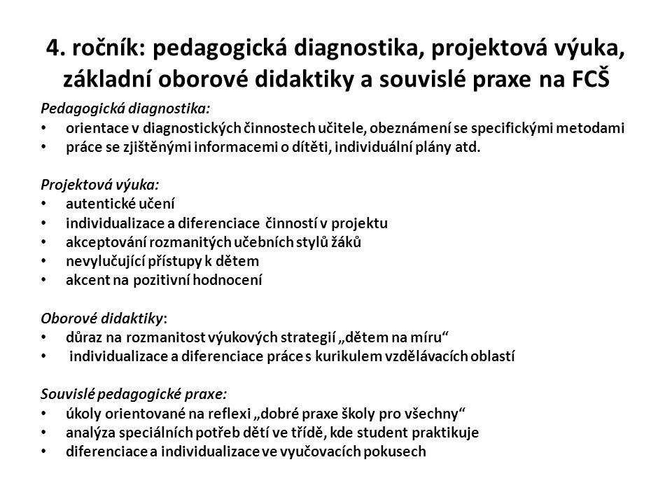 4. ročník: pedagogická diagnostika, projektová výuka, základní oborové didaktiky a souvislé praxe na FCŠ Pedagogická diagnostika: orientace v diagnost