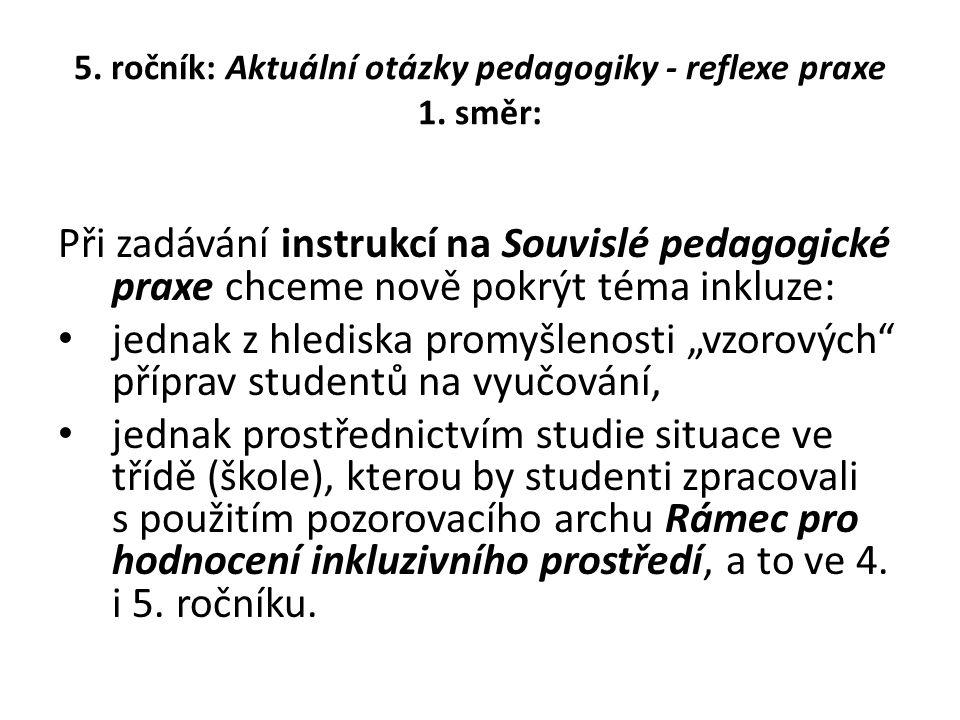 5. ročník: Aktuální otázky pedagogiky - reflexe praxe 1. směr: Při zadávání instrukcí na Souvislé pedagogické praxe chceme nově pokrýt téma inkluze: j