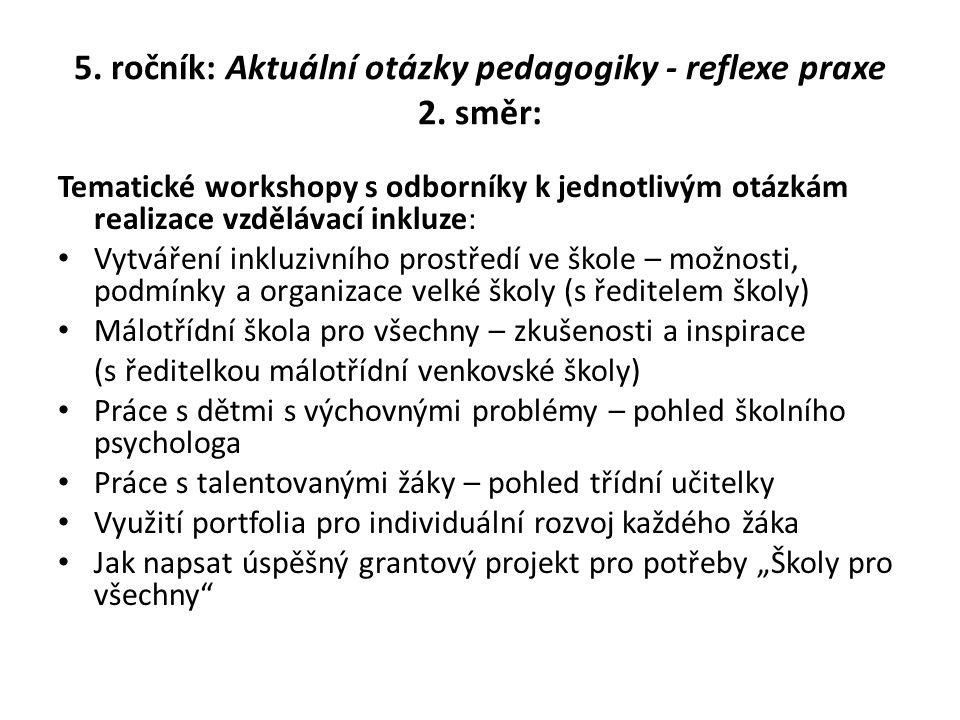 5. ročník: Aktuální otázky pedagogiky - reflexe praxe 2. směr: Tematické workshopy s odborníky k jednotlivým otázkám realizace vzdělávací inkluze: Vyt