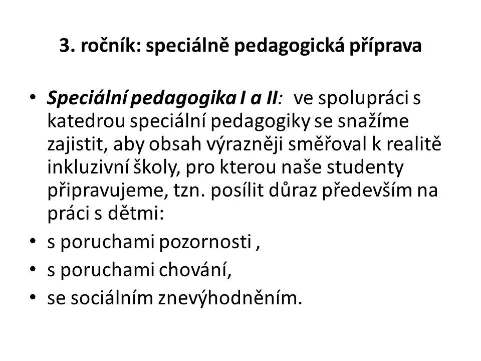 3. ročník: speciálně pedagogická příprava Speciální pedagogika I a II: ve spolupráci s katedrou speciální pedagogiky se snažíme zajistit, aby obsah vý