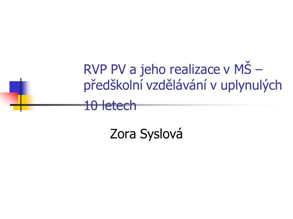 RVP PV a jeho realizace v MŠ – předškolní vzdělávání v uplynulých 10 letech Zora Syslová