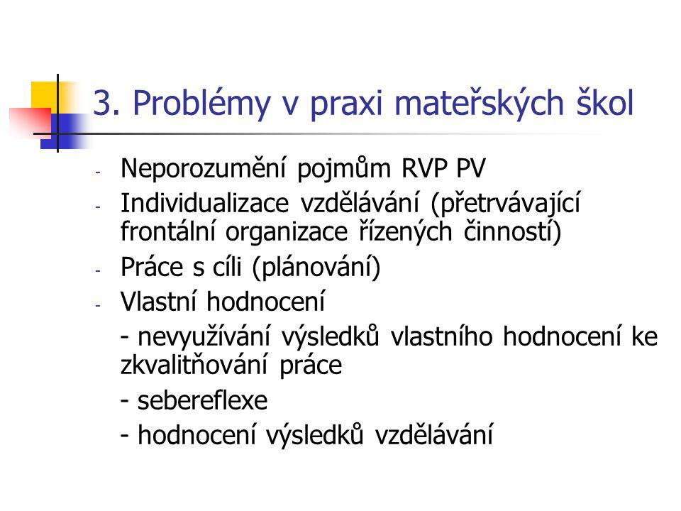 3. Problémy v praxi mateřských škol - Neporozumění pojmům RVP PV - Individualizace vzdělávání (přetrvávající frontální organizace řízených činností) -