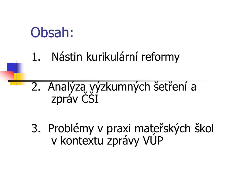 Obsah: 1. Nástin kurikulární reformy 2. Analýza výzkumných šetření a zpráv ČŠI 3. Problémy v praxi mateřských škol v kontextu zprávy VÚP