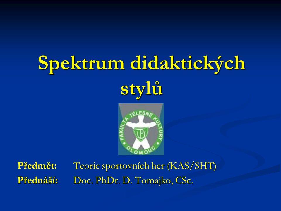 Spektrum didaktických stylů Předmět: Teorie sportovních her (KAS/SHT) Přednáší: Doc. PhDr. D. Tomajko, CSc.