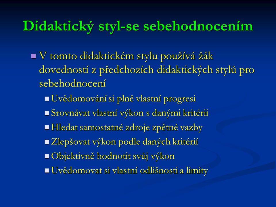 V tomto didaktickém stylu používá žák dovedností z předchozích didaktických stylů pro sebehodnocení V tomto didaktickém stylu používá žák dovedností z