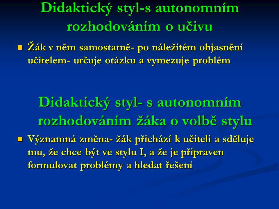 Didaktický styl-s autonomním rozhodováním o učivu Žák v něm samostatně- po náležitém objasnění učitelem- určuje otázku a vymezuje problém Žák v něm sa