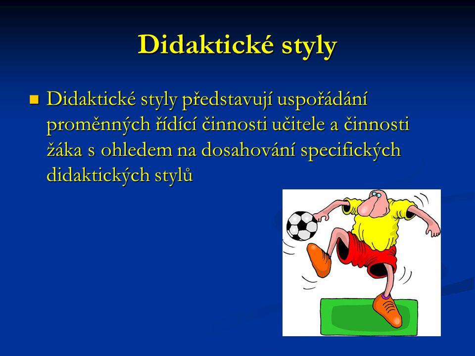 Didaktické styly Didaktické styly představují uspořádání proměnných řídící činnosti učitele a činnosti žáka s ohledem na dosahování specifických didak