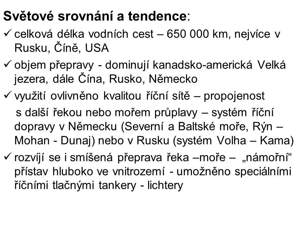 Světové srovnání a tendence: celková délka vodních cest – 650 000 km, nejvíce v Rusku, Číně, USA objem přepravy - dominují kanadsko-americká Velká jez
