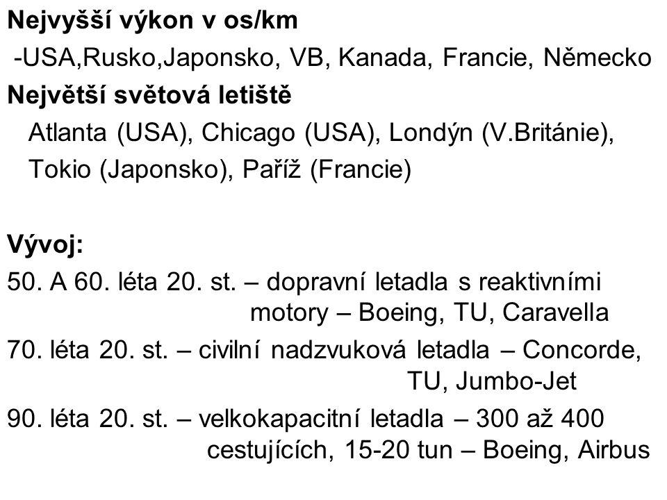 Nejvyšší výkon v os/km -USA,Rusko,Japonsko, VB, Kanada, Francie, Německo Největší světová letiště Atlanta (USA), Chicago (USA), Londýn (V.Británie), T