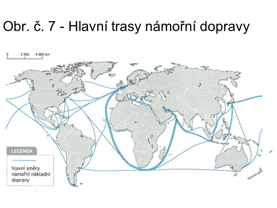 Obr. č. 7 - Hlavní trasy námořní dopravy