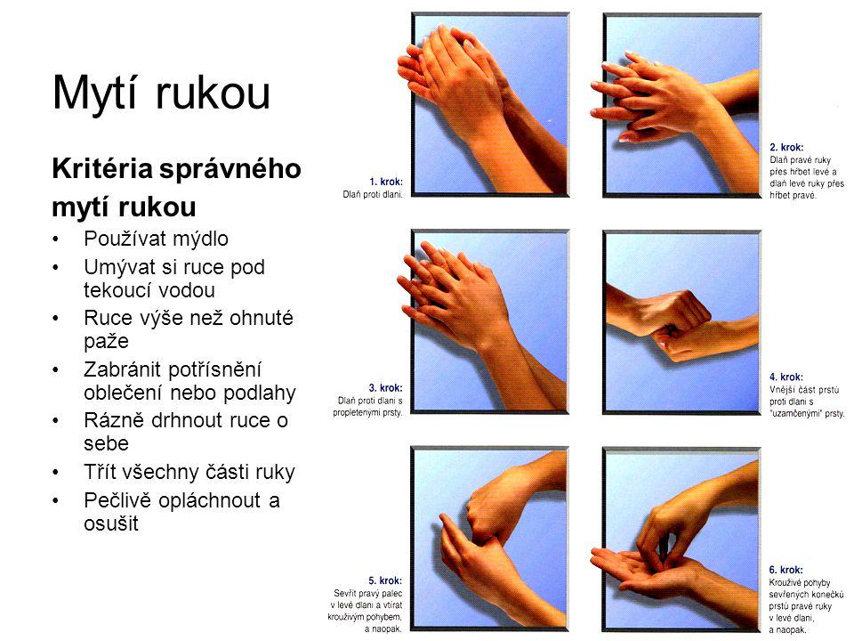 Mytí rukou Kritéria správného mytí rukou Používat mýdlo Umývat si ruce pod tekoucí vodou Ruce výše než ohnuté paže Zabránit potřísnění oblečení nebo p