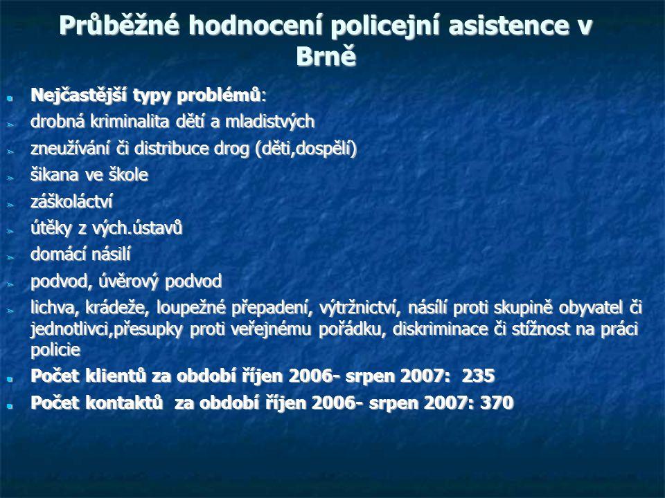Průběžné hodnocení policejní asistence v Brně Nejčastější typy problémů: Nejčastější typy problémů: ➢ drobná kriminalita dětí a mladistvých ➢ zneužívání či distribuce drog (děti,dospělí) ➢ šikana ve škole ➢ záškoláctví ➢ útěky z vých.ústavů ➢ domácí násilí ➢ podvod, úvěrový podvod ➢ lichva, krádeže, loupežné přepadení, výtržnictví, násílí proti skupině obyvatel či jednotlivci,přesupky proti veřejnému pořádku, diskriminace či stížnost na práci policie Počet klientů za období říjen 2006- srpen 2007: 235 Počet klientů za období říjen 2006- srpen 2007: 235 Počet kontaktů za období říjen 2006- srpen 2007: 370 Počet kontaktů za období říjen 2006- srpen 2007: 370