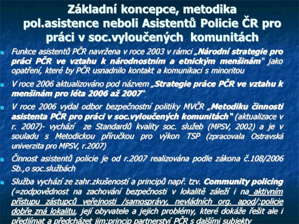 """Základní koncepce, metodika pol.asistence neboli Asistentů Policie ČR pro práci v soc.vyloučených komunitách Funkce asistentů PČR navržena v roce 2003 v rámci """"Národní strategie pro práci PČR ve vztahu k národnostním a etnickým menšinám jako opatření, které by PČR usnadnilo kontakt a komunikaci s minoritou Funkce asistentů PČR navržena v roce 2003 v rámci """"Národní strategie pro práci PČR ve vztahu k národnostním a etnickým menšinám jako opatření, které by PČR usnadnilo kontakt a komunikaci s minoritou V roce 2006 aktualizováno pod názvem """"Strategie práce PČR ve vztahu k menšinám pro léta 2006 až 2007 V roce 2006 aktualizováno pod názvem """"Strategie práce PČR ve vztahu k menšinám pro léta 2006 až 2007 V roce 2006 vydal odbor bezpečnostní politiky MVČR """"Metodiku činnosti asistenta PČR pro práci v soc.vyloučených komunitách (aktualizace v r."""