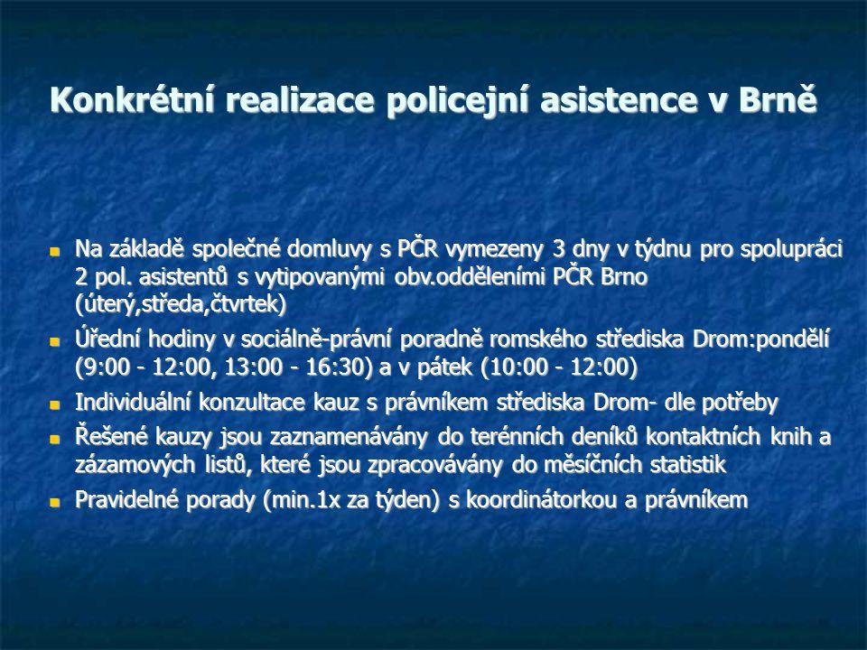 Konkrétní realizace policejní asistence v Brně Na základě společné domluvy s PČR vymezeny 3 dny v týdnu pro spolupráci 2 pol.