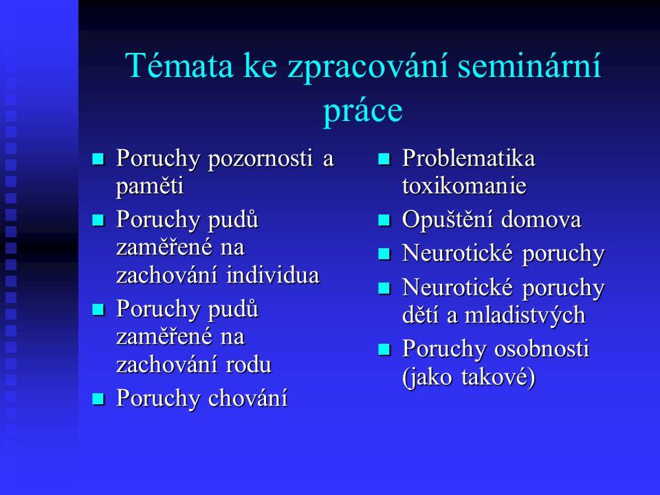 Témata ke zpracování seminární práce Poruchy pozornosti a paměti Poruchy pozornosti a paměti Poruchy pudů zaměřené na zachování individua Poruchy pudů