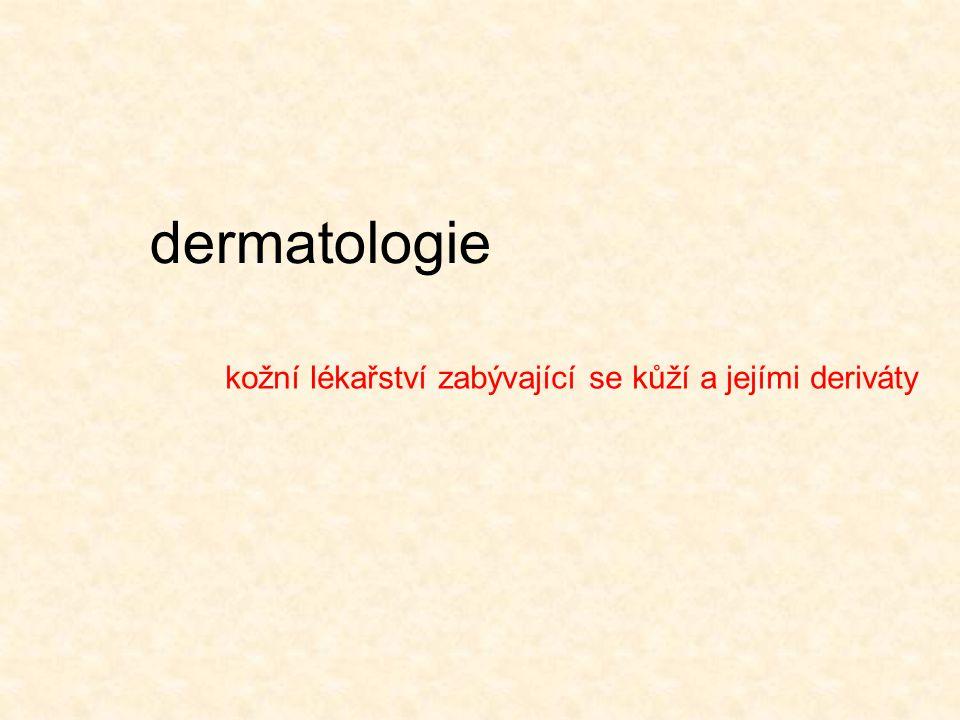 dermatologie kožní lékařství zabývající se kůží a jejími deriváty