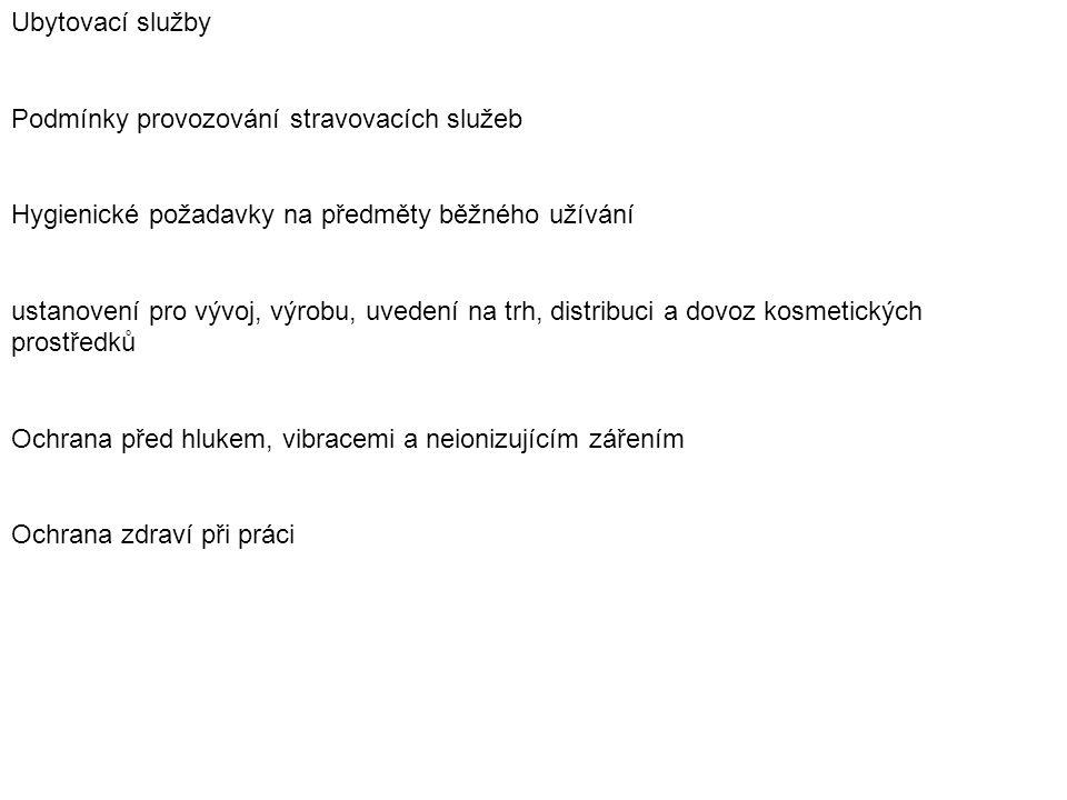 Prováděcí předpisy (výtah): VYHLÁŠKA č.135/2004 Sb., kterou se stanoví hygienické požadavky na koupaliště, sauny a hygienické limity písku v pískovištích venkovních hracích ploch VYHLÁŠKA č.