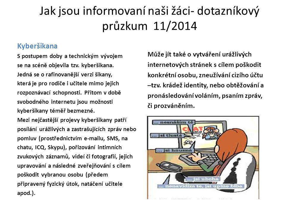 Jak jsou informovaní naši žáci- dotazníkový průzkum 11/2014 Kyberšikana S postupem doby a technickým vývojem se na scéně objevila tzv.