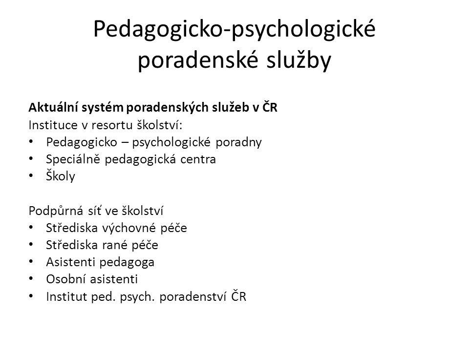 Pedagogicko-psychologické poradenské služby Aktuální systém poradenských služeb v ČR Instituce v resortu školství: Pedagogicko – psychologické poradny